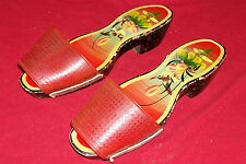 Vintage Japanese Wooden Slippers Slip-On Shoes Womens Girls Vanity Display Old