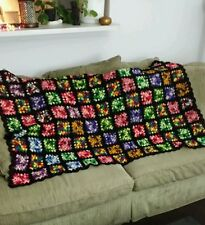 Vintage Granny Squares Blanket Black Multi-colored Pop Culture Afghan 60X36 EUC