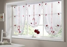 Poppies Tie Blind, Embroidered Voile with a Rod Pocket Top