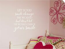 Let Your SMILE Change the World Wall lettering Vinyl Decal Lettering Quotes