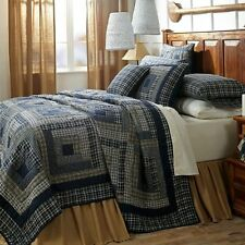 COUNTRY PLAID 3pc Full Queen QUILT SET : NAVY BLUE CABIN RUSTIC COLUMBUS