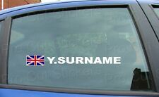 Rally Race Surname Window Names Tag Union Jack England Flag 2 Stickers Decals d8