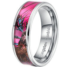 8mm Tungsten Carbide Pink Women's Camo Hunting Tree Wedding Band Ring