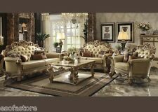 Vendome Gold Patina Set Sofa Set Sofa Loveseat & Chair With Pillows Living Room