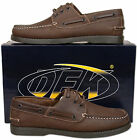 Mens Brown Crazy Horse Leather Lace Up Casual Boat Shoes Size 6 7 8 9 10 11 12