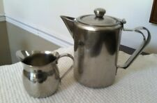 Vintage Stainless Steel 2 Cup Tea Pot / Pitcher And 8 Oz. Gemco Creamer