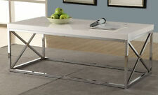 Modern Coffee Table Cocktail White Chrome Metal Living Room Furniture
