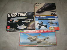 Lot of 4 Model Airplane Kits; Revell AMT Testors Italari f-19 Stealth Star Trek
