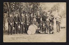 Clear Lake Iowa IA c1910 RPPC Coronet Band , W Drums, Wood Winds, Tuba. Uniforms
