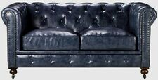 New Restoration Chesterfield English Industrial Hardware Leather Loveseat Sofa