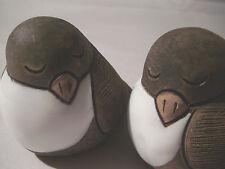 CASALS PERU PAIR OF CERAMIC BROWN & WHITE GLAZED PEACE BIRDS HAND MADE FOLK ART
