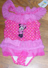NWT Disney Minnie Mouse Onepiece Swimsuit Pink w/ Ruffles and Bows 3 YR Pretty!