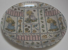 """Glass 9 1/2"""" Platter with Holly Hobbie Design per tag on the back """"Fabric Plate"""""""