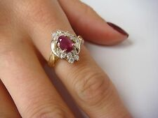 14K RUBY AND DIAMONDS COCKTAIL LADIES RING 5.5 GRAMS SIZE 7
