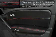 RED STITCH 2X FRONT DOOR CARD TRIM SKIN COVERS FITS VW GOLF MK6 VI 08-13 5DR