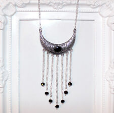 Vintage/flapper/Gatsby/1920's silver pendant necklace with black crystal beads