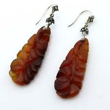 Fine Vintage Chinese Art Deco Carved Carnelian Drop Silver Earrings Gift Boxed