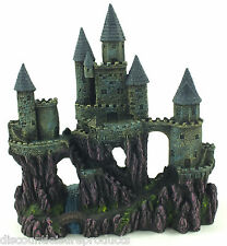 Aquarium Castle Towers Over Rocks & Water Ornament Fish Tank Decoration #1028V