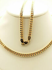18k Solid Rose Gold Italian Flat Curb Link Necklace/ Chain 11.13 Grams