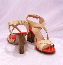 Etre 8212 Beige / Coral Leather / Patent Leather Strappy Sandals 39.5 / US 9.5