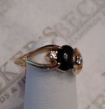 14k yg Oval Natural Black Star Sapphire & 2 Diamond Ring .04 tw size 6.25