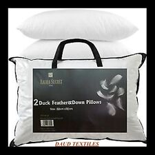 2 x Luxury Duck Feather & Down Pillow,Comfortable Extra Filling Hotel Quality
