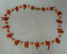 Antique Coral & Faux Pearl Necklace 41cm x 0.5cm 16g