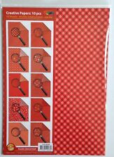 A4 DOUBLE SIDED PATTERNED PAPER PACK - 10 SHEETS - RED SHADES
