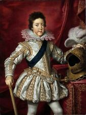 Large Oil painting young boy prince Louis Dreizehn France standing with armor