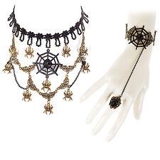 Da Donna Costume Steampunk Bracciale & Collana Set Gioielli Goth-Ragno Nero