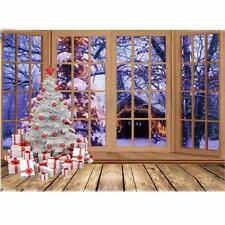 7X5FT Vinyl Christmas Tree Window Snow Studio Photography Photo Background Props