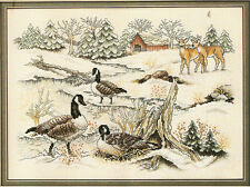 "1990 Janlynn ""Nature's Resting Place"" Geese Deer Winter Snow Cross Stitch Kit"