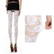 NEW Fashion Women Hollow-out Rose Flower Gothic Lace See-through Leggings Pants