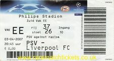 original unused 2006-07 champions league quarter final 1st PSV LIVERPOOL ticket