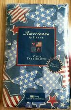 "Extra Large Vinyl Tablecloth 52"" x 120"" ~ Patriotic Stars Red White & Blue"