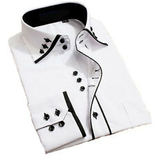 Mens Stylish Casual Fancy Collar Slim Fit Formal Designer Shirt Long Sleeve DC04