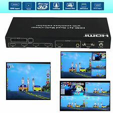 HDMI 4x1 PIP Picture Division Multi Viewer Seamless Switcher Audio AC3 + RS232