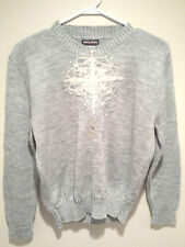 Vintage Tacky Ugly Christmas Sweater - Small Gray Snowflake Jumper w/ Measures !