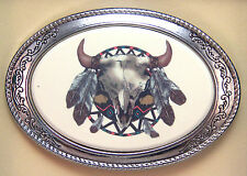 Belt Buckle Barlow Scrimshaw Colored Reproduction Art Indian Shield  592419c NEW