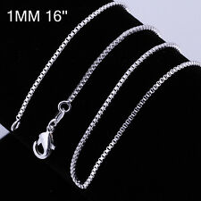 New Women Jewelry 925 silver Plated 1MM Box Solid Fashion Chain Link Necklace