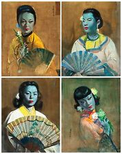 Cecil Beall Tretchikoff Era The Fan Set of 4 Prints - Vintage Print - Size A3