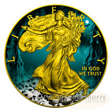 HALLOWEEN WALKING LIBERTY SKULLS 2016 1 oz American Silver Eagle Coin Color 24K