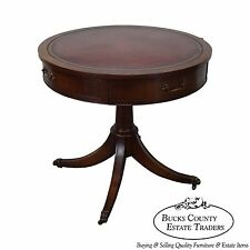 Vintage 1940s Mahogany Round Leather Top Drum Table by Weiman