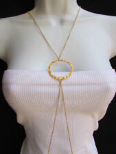 NEW WOMEN GOLD BIG CIRCLE CLASSIC FASHION METAL BODY CHAIN JEWELRY LONG NECKLACE