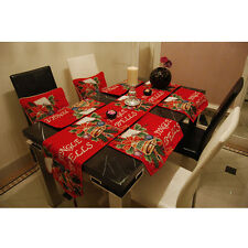 1pc Xmas Jingle Bell Holiday Table Cloth Placemat Setting Mat Cutlery Holder