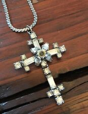 The Lords Prayer Cross Pendant Necklace Phyllis Sterling Silver & Rhinestones
