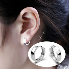Solid Hoop Earrings Ear Studs Men/Women's Polishing Silver Plated Jewelry Gift