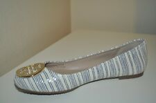 Tory Burch REVA Beige Printed Piano Stripe Blue Gold Logo Ballet Flat Shoe 10.5