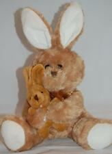 Momma Baby Brown Easter Bunny Rabbit Bow White Feet Ears Plush Best Made Toy 12""