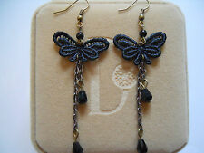 Handmade Vintage Gothic Victorian Black Lace Butterfly Dangle/Drop Earrings